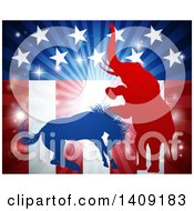 Silhouetted Political Aggressive Democratic Donkey Or Horse And Republican Elephant Battling Over An American Flag And Burst