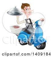Clipart Of A White Male Waiter With A Curling Mustache Holding A Platter On A Delivery Scooter With Pizza Boxes Royalty Free Vector Illustration by AtStockIllustration