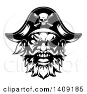 Clipart Of A Black And White Tough Pirate Mascot Face With An Eye Patch And Captain Hat Royalty Free Vector Illustration by AtStockIllustration