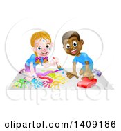 Poster, Art Print Of Cartoon Happy White Girl Kneeling And Painting Artwork And Black Boy Playing With A Car