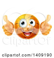 Clipart Of A Cartoon Happy Basketball Character Giving Two Thumbs Up Royalty Free Vector Illustration by AtStockIllustration
