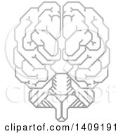 Clipart Of A Grayscale Gradient Human Brain With Electrical Circuits Royalty Free Vector Illustration