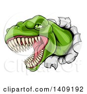 Clipart Of A Cartoon Roaring Angry Green Tyrannosaurus Rex Dino Head Breaking Through A Wall Royalty Free Vector Illustration
