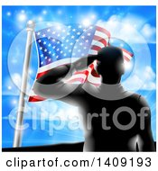 Black Silhouetted Solder Saluting On A Hill Top Over An American Flag And Sky