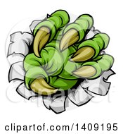 Clipart Of A Green Monster Claw Ripping Through Metal With Sharp Talons Royalty Free Vector Illustration by AtStockIllustration