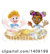Clipart Of A Happy White Boy Making Frosting And Black Girl Making Star Cookies Royalty Free Vector Illustration by AtStockIllustration