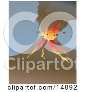 Lava Erupting From A Volcano Natural Hazard Clipart Illustration