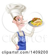 Clipart Of A White Male Chef With A Curling Mustache Holding A Souvlaki Kebab Sandwich On A Tray Royalty Free Vector Illustration by AtStockIllustration