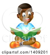 Clipart Of A Happy Black Boy Sitting On The Floor And Reading A Book With Magical Lights Royalty Free Vector Illustration
