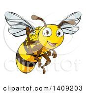 Clipart Of A Happy Cartoon Bee Flying And Waving Royalty Free Vector Illustration by AtStockIllustration