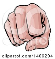 Clipart Of A Cartoon Caucasian Fist Punching Royalty Free Vector Illustration