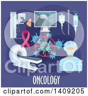 Clipart Of A Flag Design Oncology Graphic With Icons And Text On Purple Royalty Free Vector Illustration by Vector Tradition SM
