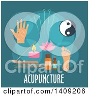 Clipart Of A Flag Design Acupuncture Graphic With Icons And Text On Teal Royalty Free Vector Illustration by Seamartini Graphics