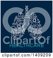Pair Of Lungs Formed Of Medical Icons With Text On Blue