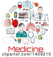 Clipart Of A Circle Of Sketched Medical Icons Over Text Royalty Free Vector Illustration by Vector Tradition SM