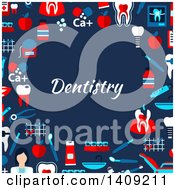 Clipart Of A Flat Design Border Of Dental Icons With Text On Blue Royalty Free Vector Illustration by Vector Tradition SM