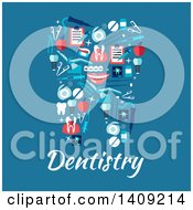 Flat Design Tooth Formed Of Icons Over Dentistry Text On Blue