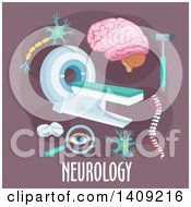 Clipart Of A Flag Design Neurology Graphic With Icons And Text On Purple Royalty Free Vector Illustration by Vector Tradition SM