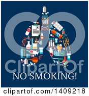Pair Of Lungs Formed Of Medical Icons Over No Smoking Text On Blue