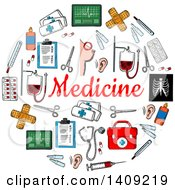 Clipart Of A Sketched Circle Formed Of Medical Icons With Text Royalty Free Vector Illustration
