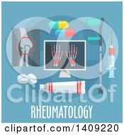 Clipart Of A Flag Design Rheumatology Graphic With Icons And Text On Blue Royalty Free Vector Illustration