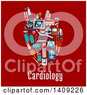 Flat Design Human Heart Formed Of Medical Icons With Text On Red