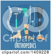 Clipart Of A Flag Design Orthopedics Graphic With Icons And Text On Blue Royalty Free Vector Illustration