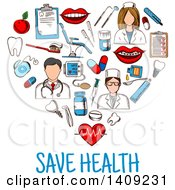 Clipart Of A Sketched Heart Formed Of Dental Icons With Save Health Text Royalty Free Vector Illustration by Vector Tradition SM