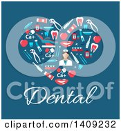 Clipart Of A Flat Design Heart Formed Of Dental Icons With Text On Blue Royalty Free Vector Illustration by Vector Tradition SM