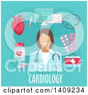Clipart Of A Flag Design Cardiology Graphic With Icons And Text On Blue Royalty Free Vector Illustration by Vector Tradition SM