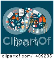 Flat Design Brain Formed Of Medical Icons With Text On Blue
