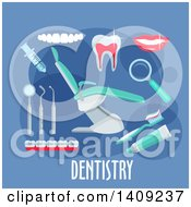 Clipart Of A Flag Design Dentistry Graphic With Icons And Text On Blue Royalty Free Vector Illustration by Vector Tradition SM