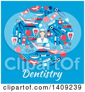 Clipart Of A Flat Design Circle Formed Of Dental Icons With Text On Blue Royalty Free Vector Illustration by Vector Tradition SM