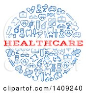 Clipart Of A Round Pill Formed Of Blue Icons With Healthcare Text Royalty Free Vector Illustration by Vector Tradition SM