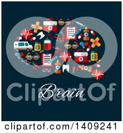 Clipart Of A Flat Design Brain Formed Of Icons With Text On Blue Royalty Free Vector Illustration by Vector Tradition SM