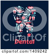 Clipart Of A Flat Design Tooth Formed Of Dental Icons With Text On Blue Royalty Free Vector Illustration by Vector Tradition SM