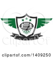 Clipart Of A Green And Dark Gray American Football Design Royalty Free Vector Illustration by Vector Tradition SM