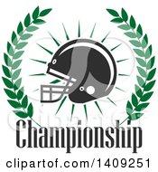 Green And Dark Gray American Football Helmet Design