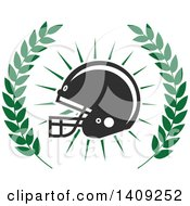 Clipart Of A Green And Dark Gray American Football Helmet Design Royalty Free Vector Illustration by Seamartini Graphics