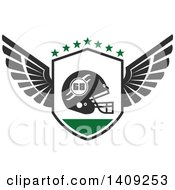 Clipart Of A Green And Dark Gray American Football Helmet Design Royalty Free Vector Illustration by Vector Tradition SM