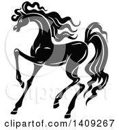 Clipart Of A Black And White Horse Royalty Free Vector Illustration