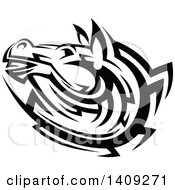 Clipart Of A Black And White Tribal Horse Royalty Free Vector Illustration