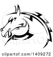 Clipart Of A Black And White Tribal Horse Royalty Free Vector Illustration by Seamartini Graphics
