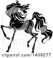 Clipart Of A Black And White Horse Royalty Free Vector Illustration by Seamartini Graphics