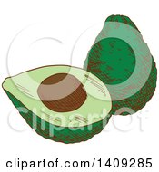 Clipart Of A Sketched Avocado Royalty Free Vector Illustration by Vector Tradition SM