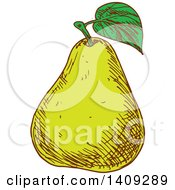 Clipart Of A Sketched Green Pear Royalty Free Vector Illustration by Vector Tradition SM