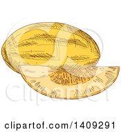 Clipart Of A Sketched Melon Royalty Free Vector Illustration