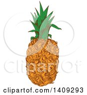 Clipart Of A Sketched Pineapple Royalty Free Vector Illustration