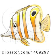 Clipart Of A Marine Copperband Butterflyfish Facing Left Royalty Free Vector Illustration