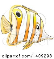 Clipart Of A Marine Copperband Butterflyfish Facing Right Royalty Free Vector Illustration